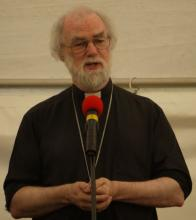 Archbishop Rowan  preaching during the service